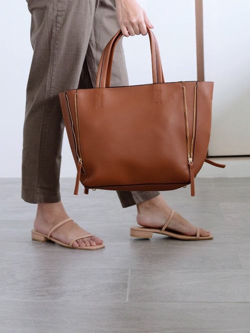 Aleka Tote w/ Side Zippers Brown