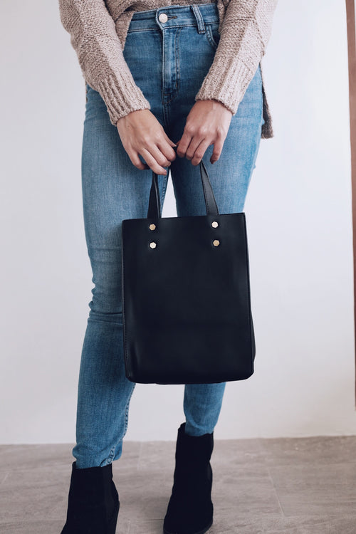 Delia Structured Bag w/ Gold Studs - Black