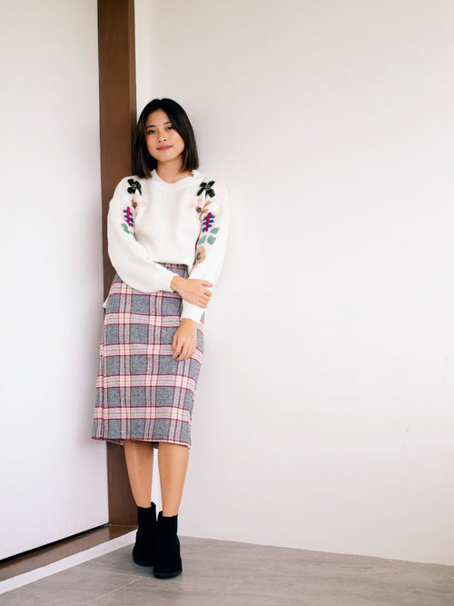 Adela Plaid Skirt- Pink