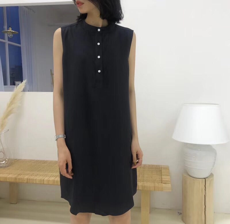 Varvara Button Dress Black