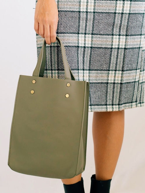 Delia Structured Bag w/ Gold Studs Olive