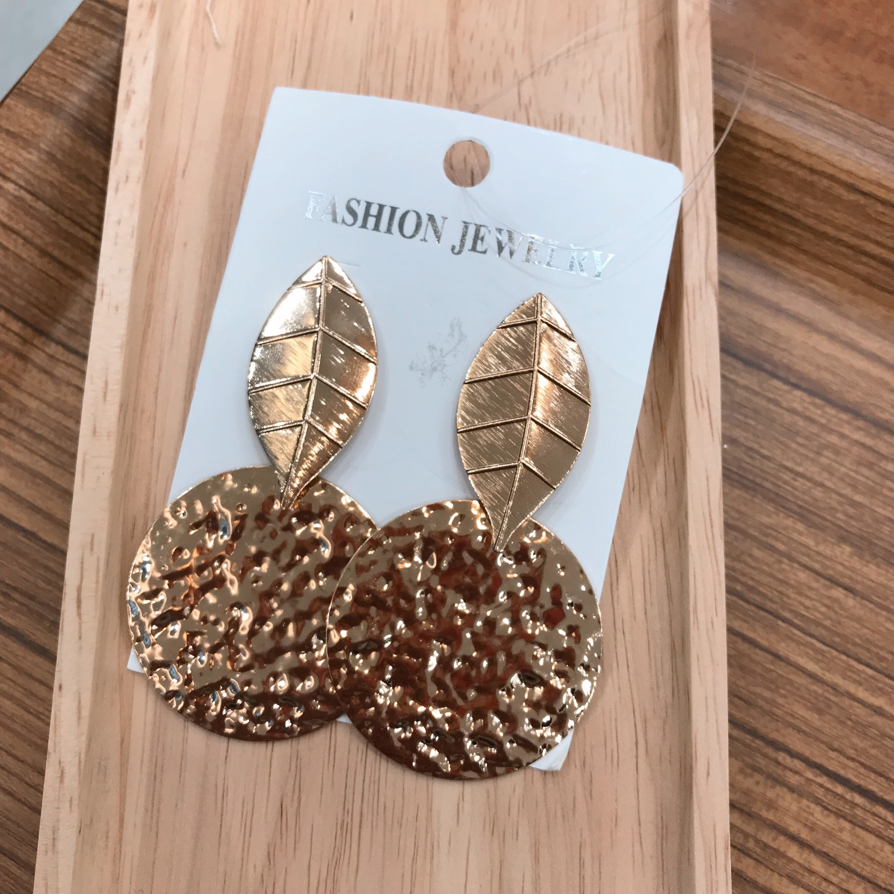 Leaf & Round Gold Earrings