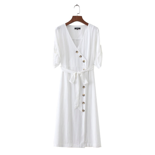 Malta Button Sleeved Dress White