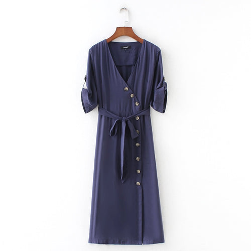 Malta Button Sleeved Dress Navy