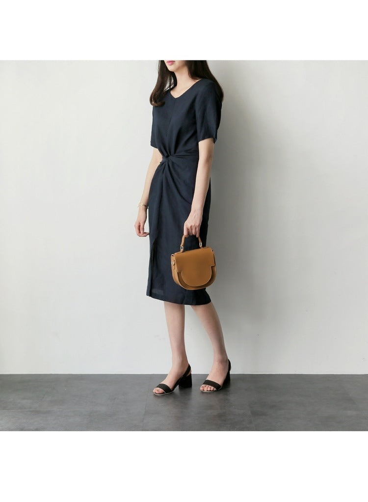 Santiago Cinched Waist Sleeved Dress (Navy)