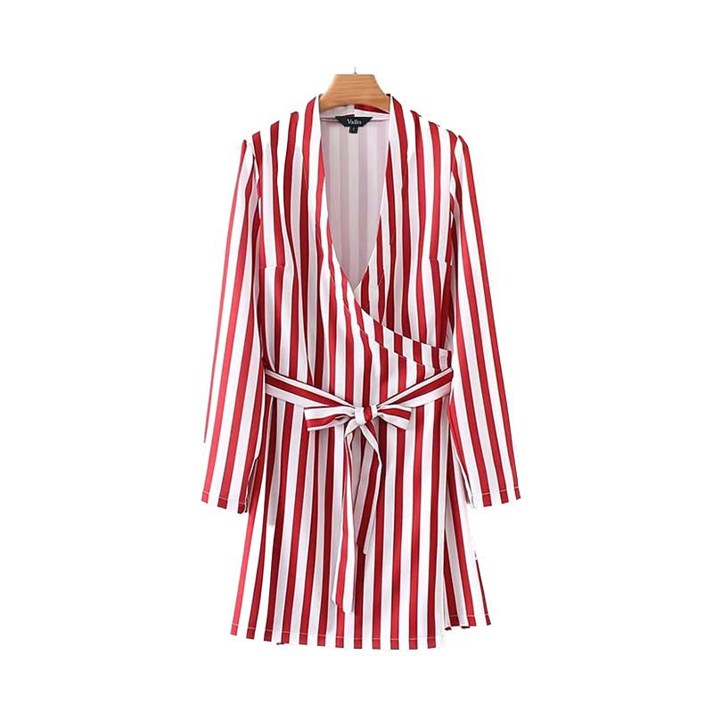Compostela V Neck Red Stripe Sash Dress