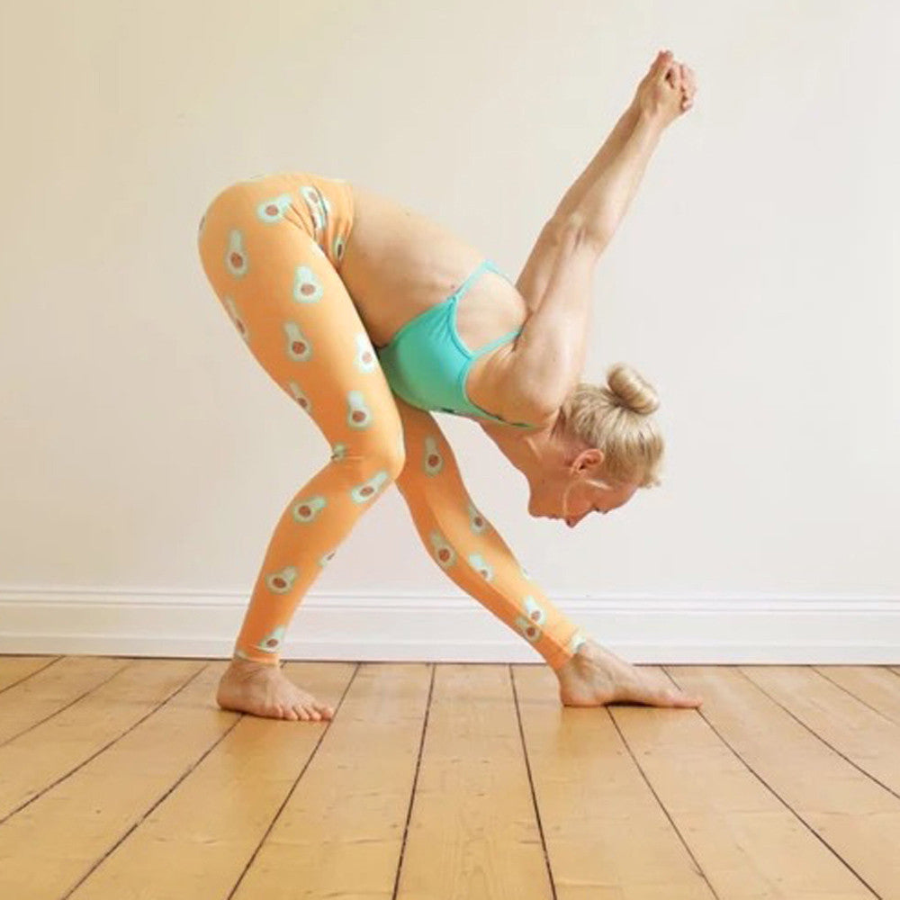 Women's leggings, peach with avocado print
