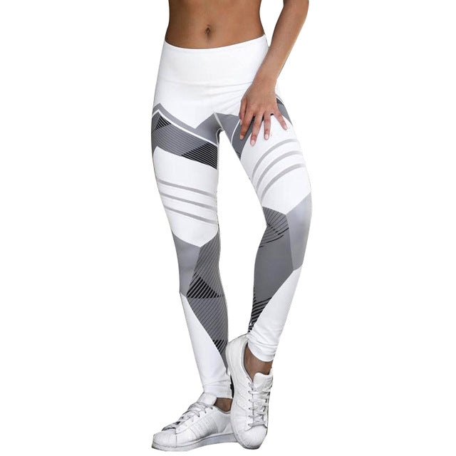 women's leggings, black, white, grey angles