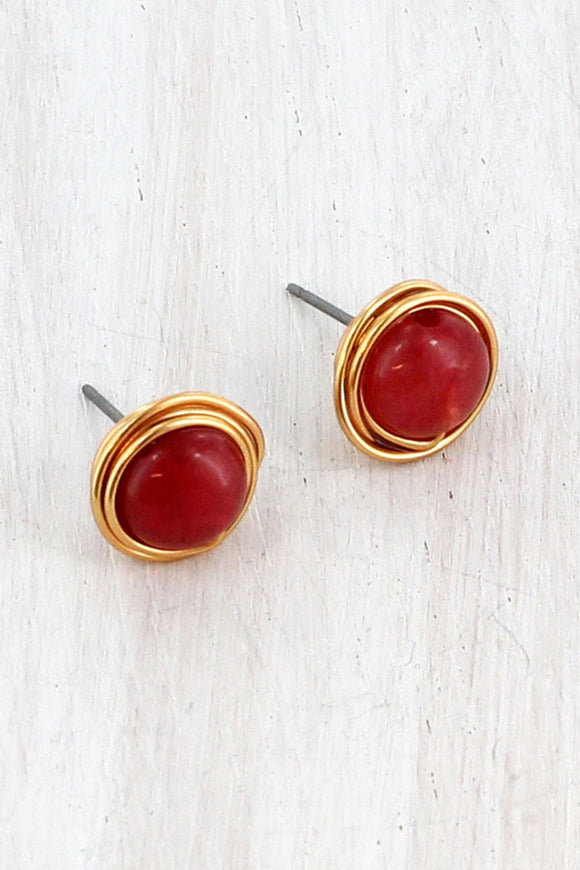 GOLDTONE WIRE-WRAPPED CHERRY QUARTZ STONE STUD EARRINGS