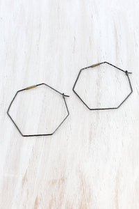 HEMATITE HEXAGON WIRE HOOP EARRINGS
