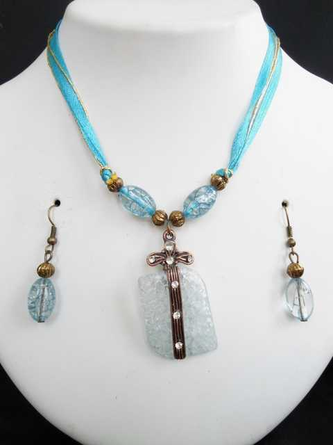 Western Style Beaded Set - Necklace & Earrings