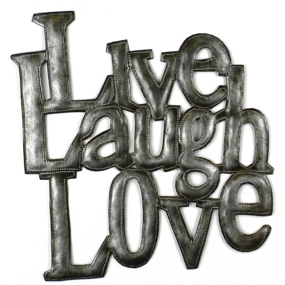 Love Laugh Live Metal Wall Art - Croix des Bouquets