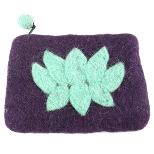 Lotus Flower Felt Coin Purse - Wine - Global Groove (P)