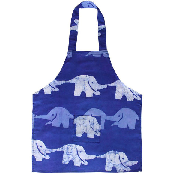 Kids Apron Elephants Blueberry - Global Mamas (C)