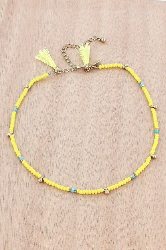 Yellow Faceted Bead Choker