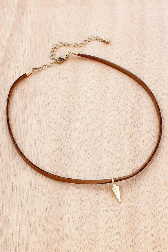 WORN GOLDTONE SPIKE CHARM BROWN FAUX LEATHER CHOKER