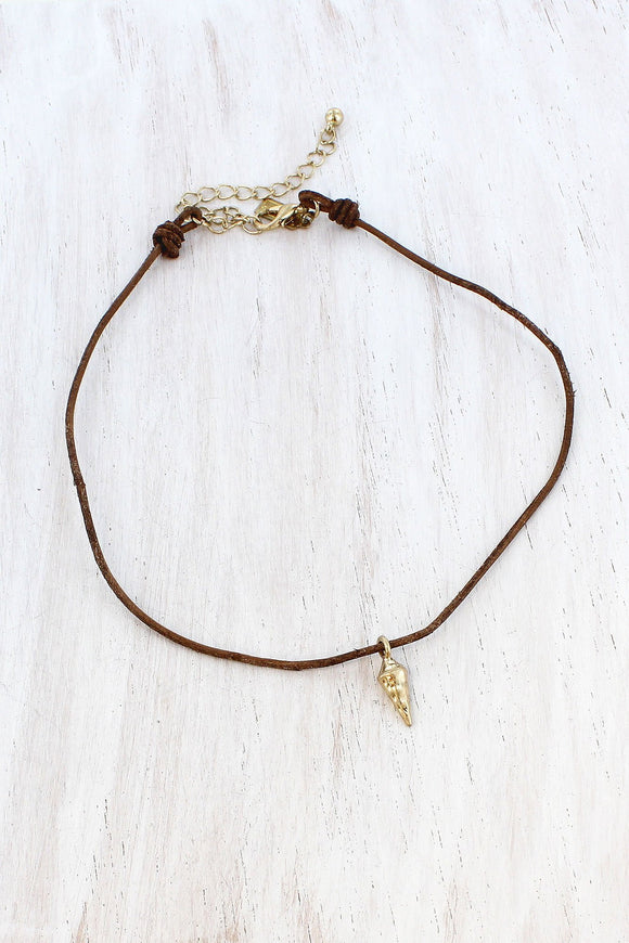 Worn Goldtone Spear Charm Brown Cord Choker