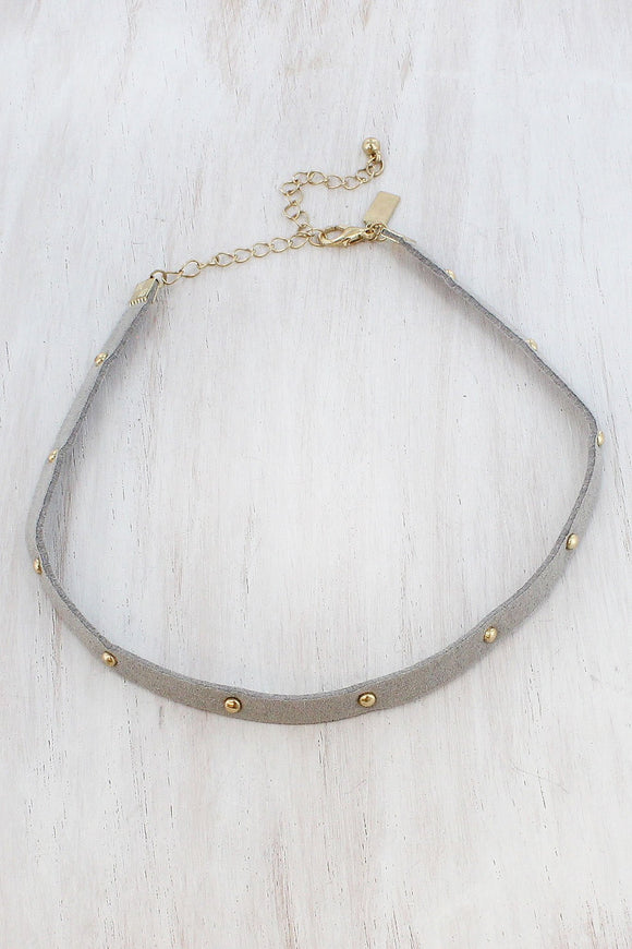 GOLDTONE STUDDED GRAY FAUX LEATHER CHOKER