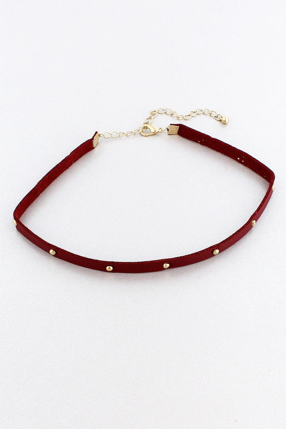 GOLDTONE STUDDED BURGUNDY FAUX LEATHER CHOKER