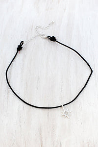 Worn Silvertone North Star Charm Black Cord Choker