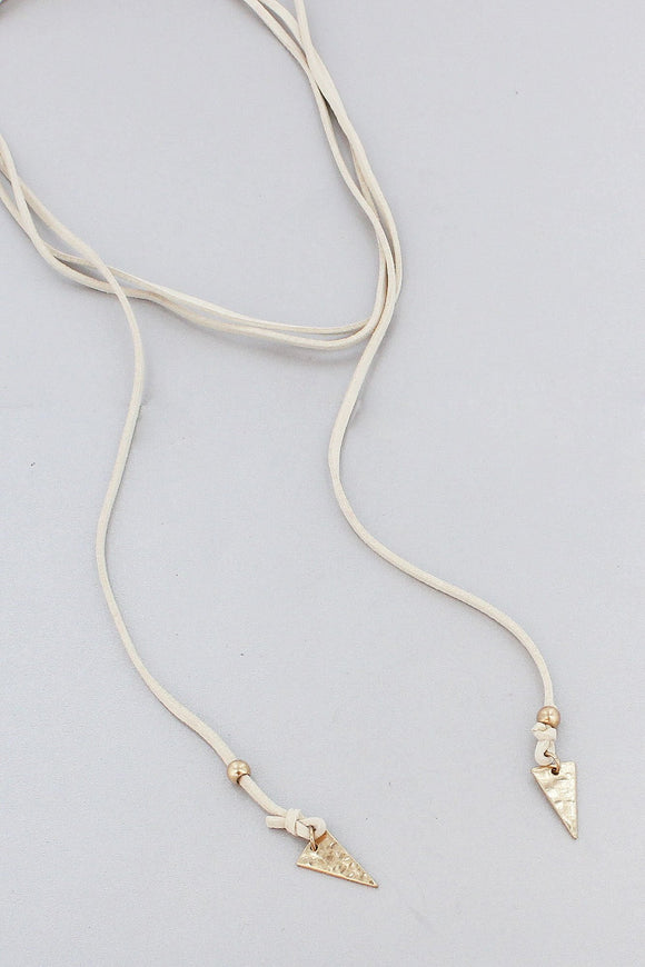 NATURAL FAUX LEATHER AND WORN GOLDTONE TRIANGLE WRAP NECKLACE