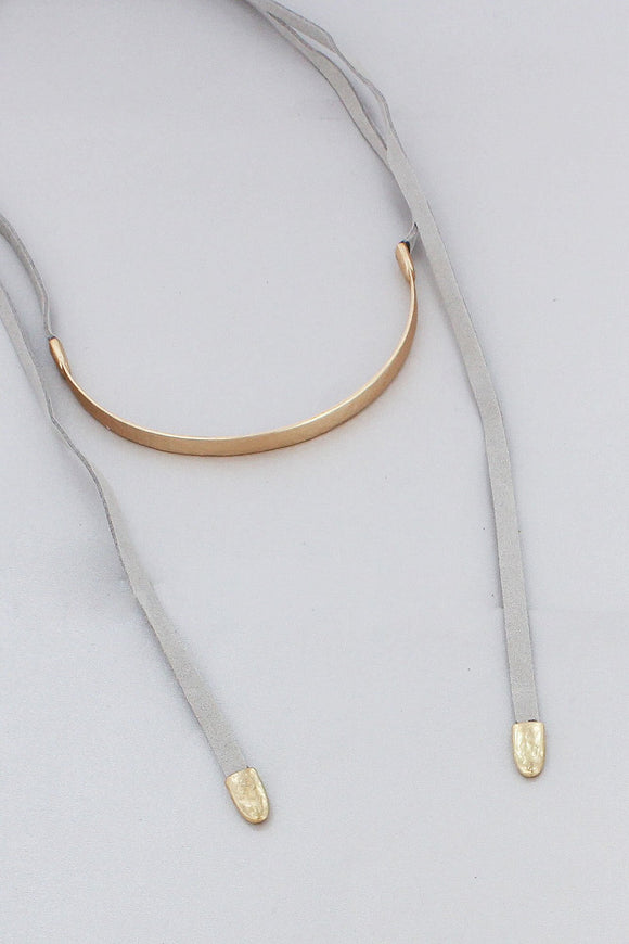 GOLDTONE BAR AND GRAY FAUX LEATHER WRAP CHOKER