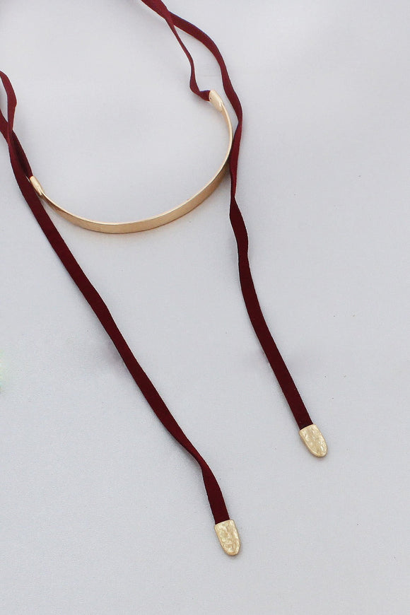 GOLDTONE BAR AND BURGUNDY FAUX LEATHER WRAP CHOKER