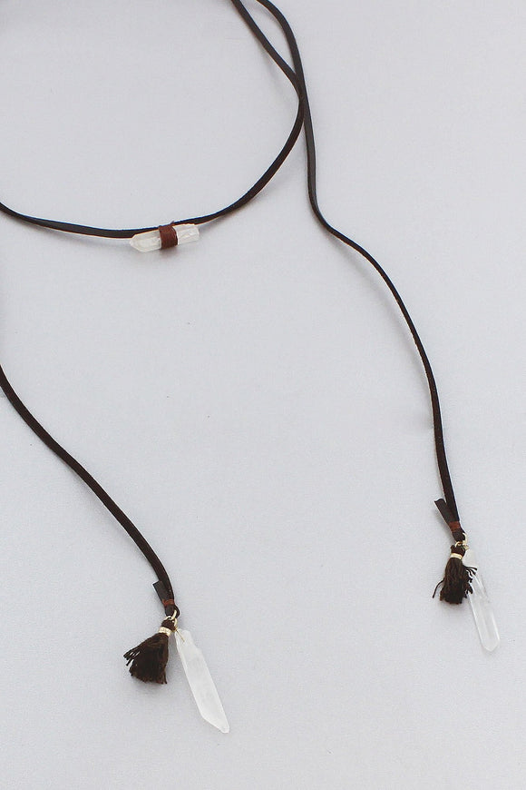 DARK BROWN FAUX LEATHER QUARTZ & TASSEL WRAP NECKLACE