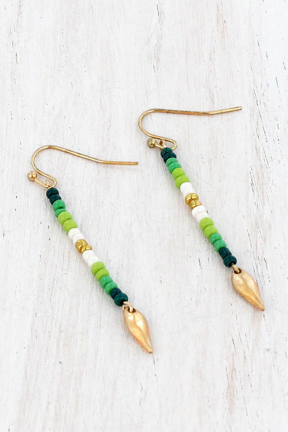 SHADES OF GREEN SEED BEAD DROP EARRINGS