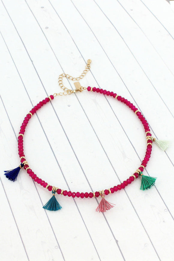FUCHSIA FACETED BEAD CHOKER WITH COLORFUL TASSELS