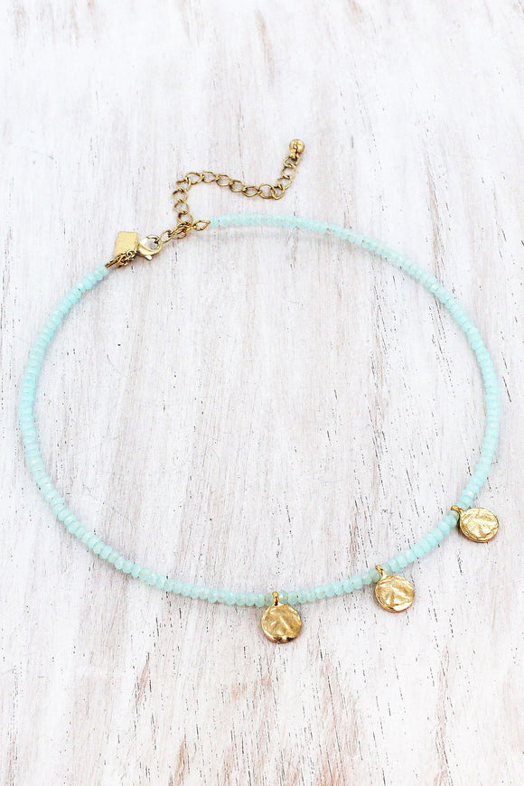Triple Disk Charm Aqua Faceted Bead Choker