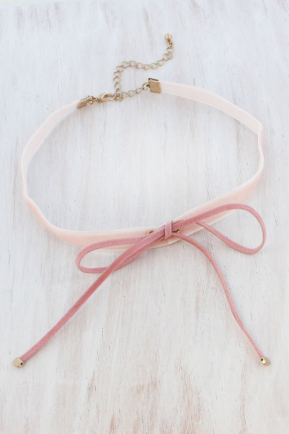 PINK FAUX SUEDE BOW VELVET CHOKER