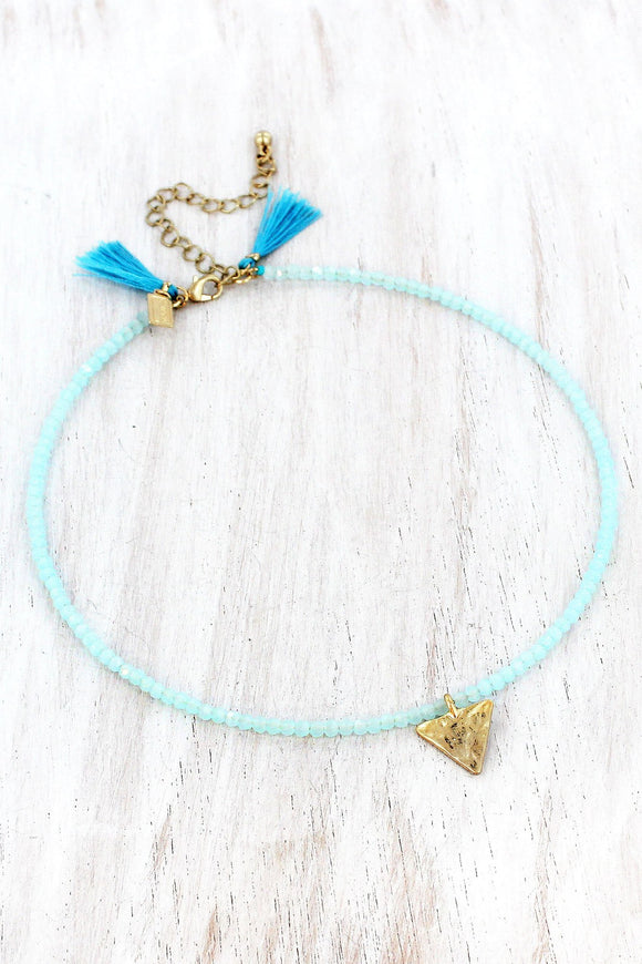 Triangle Charm Aqua Faceted Bead Choker