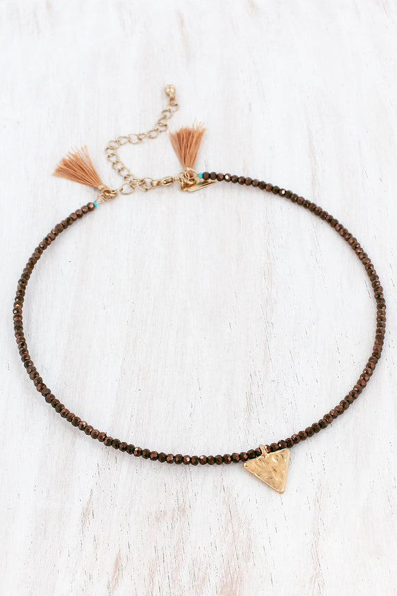 TRIANGLE CHARM BRONZE FACETED BEAD CHOKER