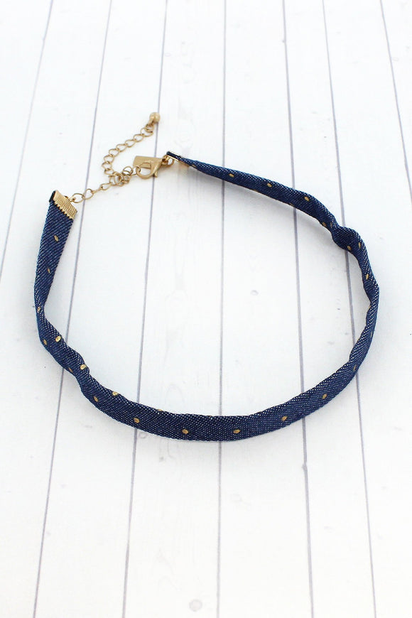 GOLD DOTS DARK DENIM CHOKER