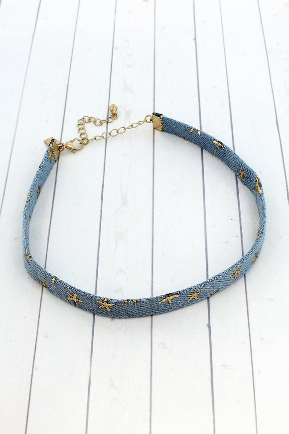 Gold Stars Light Denim Choker