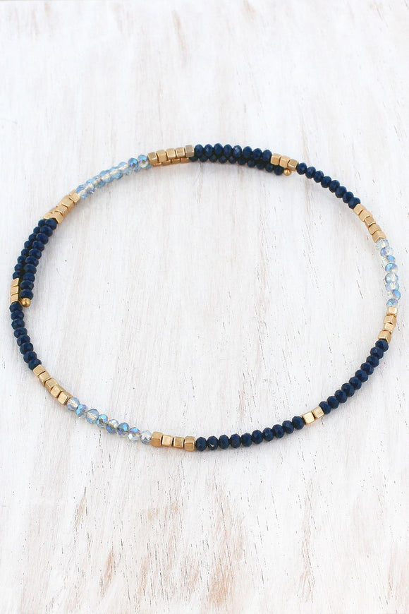 Navy Two-Color and Gold Beaded Coil Choker
