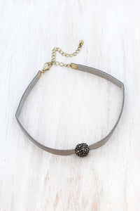 JET HEMATITE CRYSTAL PAVE BALL GRAY FAUX LEATHER CHOKER