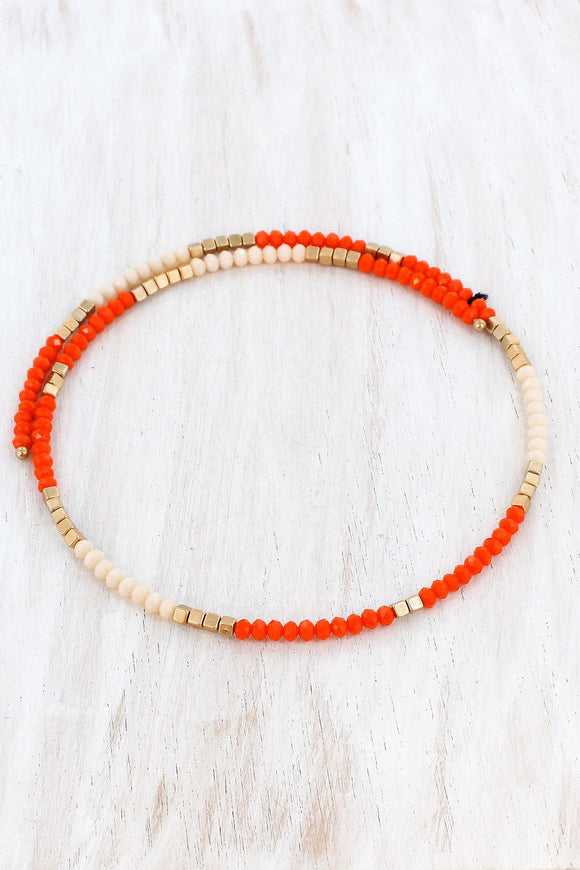 Orange Two-Color and Gold Beaded Coil Choker
