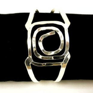 Silver Hammered Square Spiral Cuff Bracelet 2