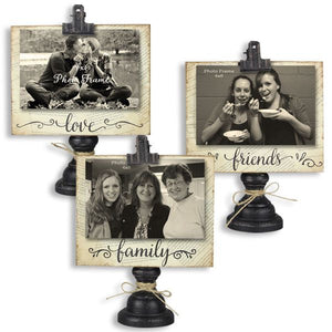 Clip Picture Frame on Wooden Pedestal