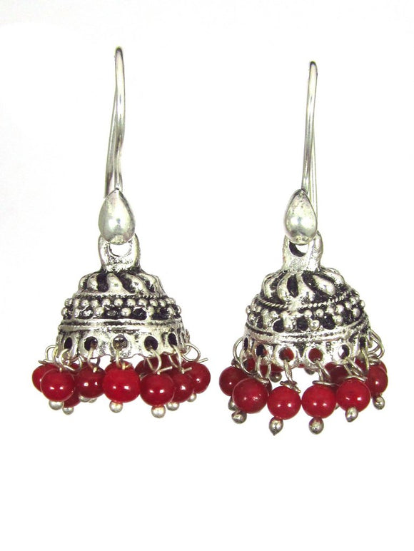Oxidized Earrings - Red (Ruby)