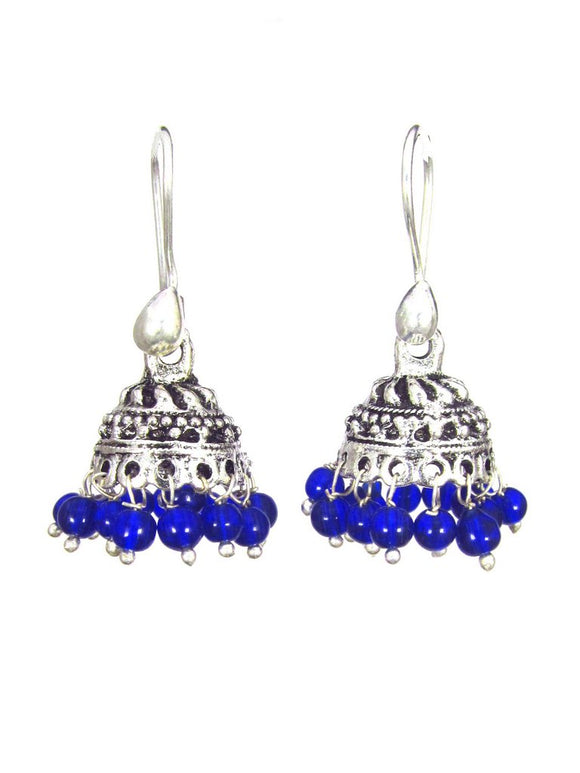Oxidized Earrings - Blue