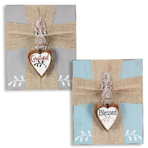 Wooden Box Sign w/ Burlap Cross & Ornament