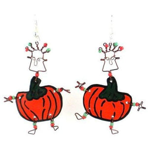 Dancing Girl Pumpkin Earrings Handmade and Fair Trade