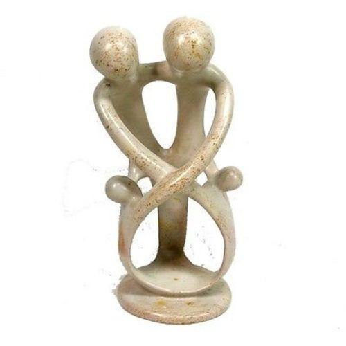 Natural 8-inch Tall Soapstone Family Sculpture - 2 Parents 2 Children Handmade and Fair Trade