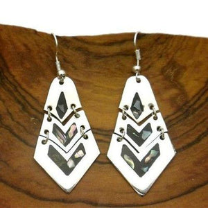 Articulated Mother of Pearl Inlay Alpaca Silver Earrings Handmade and Fair Trade