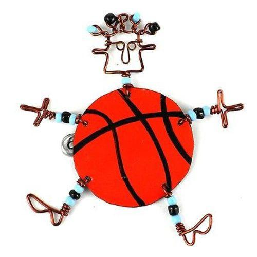 Dancing Girl Basketball Pin Handmade and Fair Trade