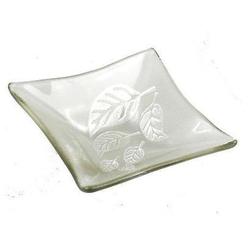 Etched Leaf Small Recycled Clear Glass Dish Handmade and Fair Trade