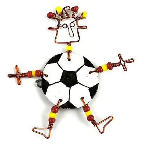 Dancing Girl Soccer Pin Handmade and Fair Trade